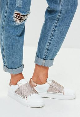 White Sequin Strap Sneakers