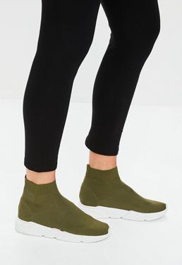 Khaki Sock Runner Sneakers