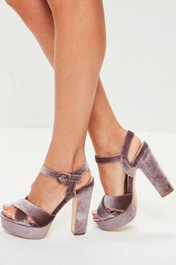 Purple Velvet Block Heels
