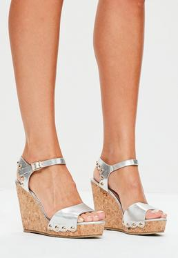 SIlver Stud Back Cork Wedge