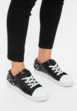 Black Embellished Back Sneakers