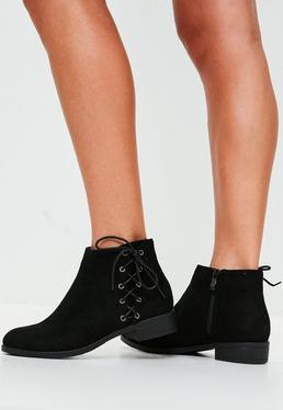 Black Lace Up Side Flat Ankle Boots