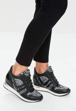 Black Tweed Wedge Sneakers