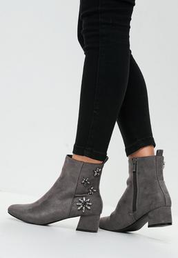 Grey Embellished Ankle Boots