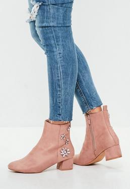 Pink Embellished Back Ankle Boots