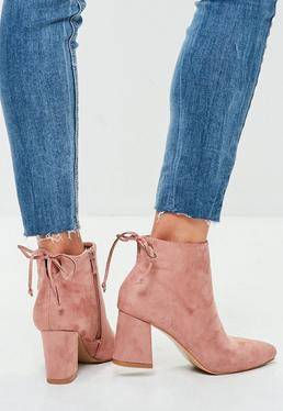 Pink Minimal Tie Back Pointed Boots