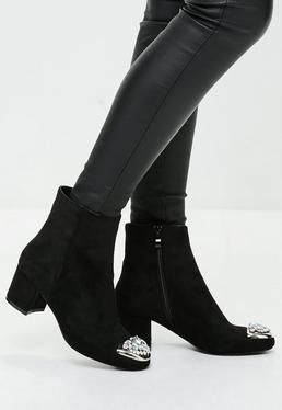 Black Embellished Toe Ankle Boots