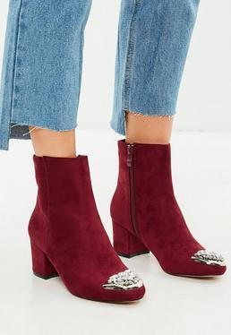 Burgundy Embellished Toe Ankle Boots