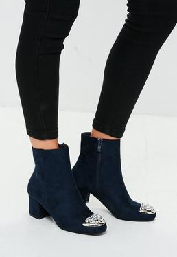 Navy Embellished Toe Ankle Boots
