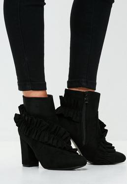 Black Faux Suede Ruffle Ankle Boots