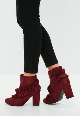 Burgundy Faux Suede Ruffle Ankle Boots