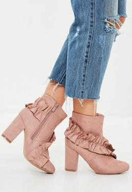Pink Frill Faux Suede Ankle Boots