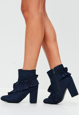 Navy Frill Faux Suede Ankle Boots