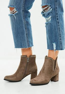Brown Stud Side Ankle Boots