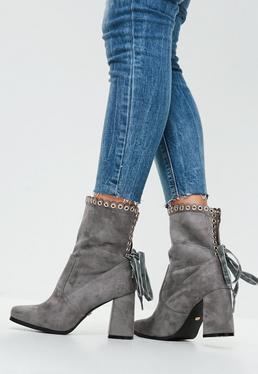 Grey Eyelet Block Heels