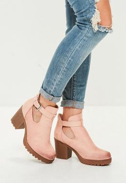 Pink Eyelet Faux Suede Ankle Boots