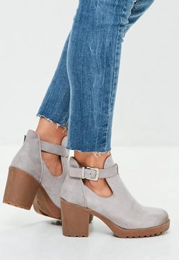 Grey Buckle Side Ankle Boots