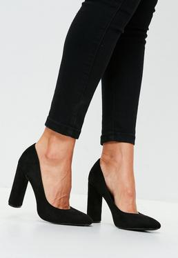Black Curve Heel Suedette Pumps