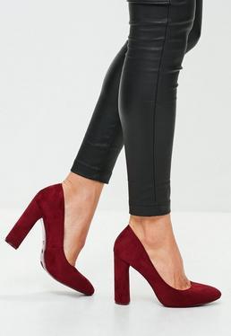 Burgundy Curve Suedette Court Shoes
