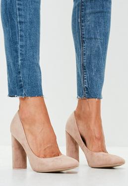Nude Curve Suedette Heels