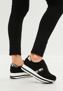 Black Embossed Velvet Platform Sneakers