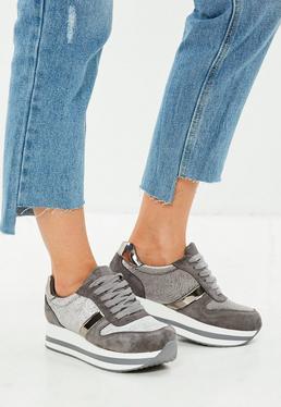 Szare buty na platformie