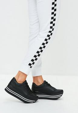 Black Mega Wedge Striped Sole Trainers