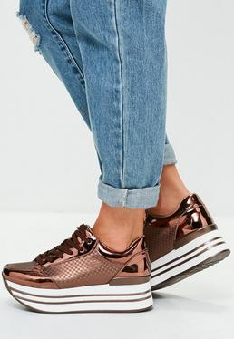 Brown Contrasting Wedge Sneakers