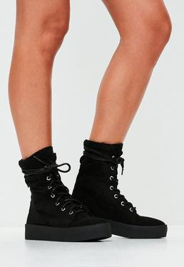 Black Creeper Sole Ankle Boots