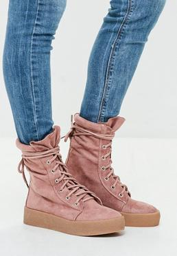 Pink Creeper Sole Ankle Boots