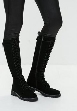 Black High Leg Lace Up Boots