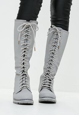 Grey High Leg Lace Up Boots
