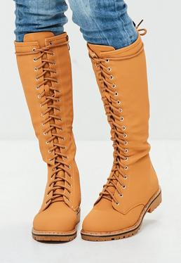 Tan High Leg Lace Up Boots