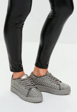 Grey Snake Textured Trainers