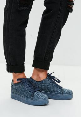 Navy Snake Textured Trainers