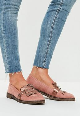 Pink Stud Front Loafers