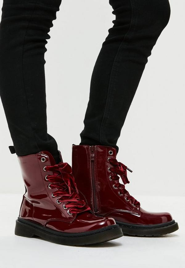Burgundy High Shine Lace Up Ribbon Ankle Boots Missguided