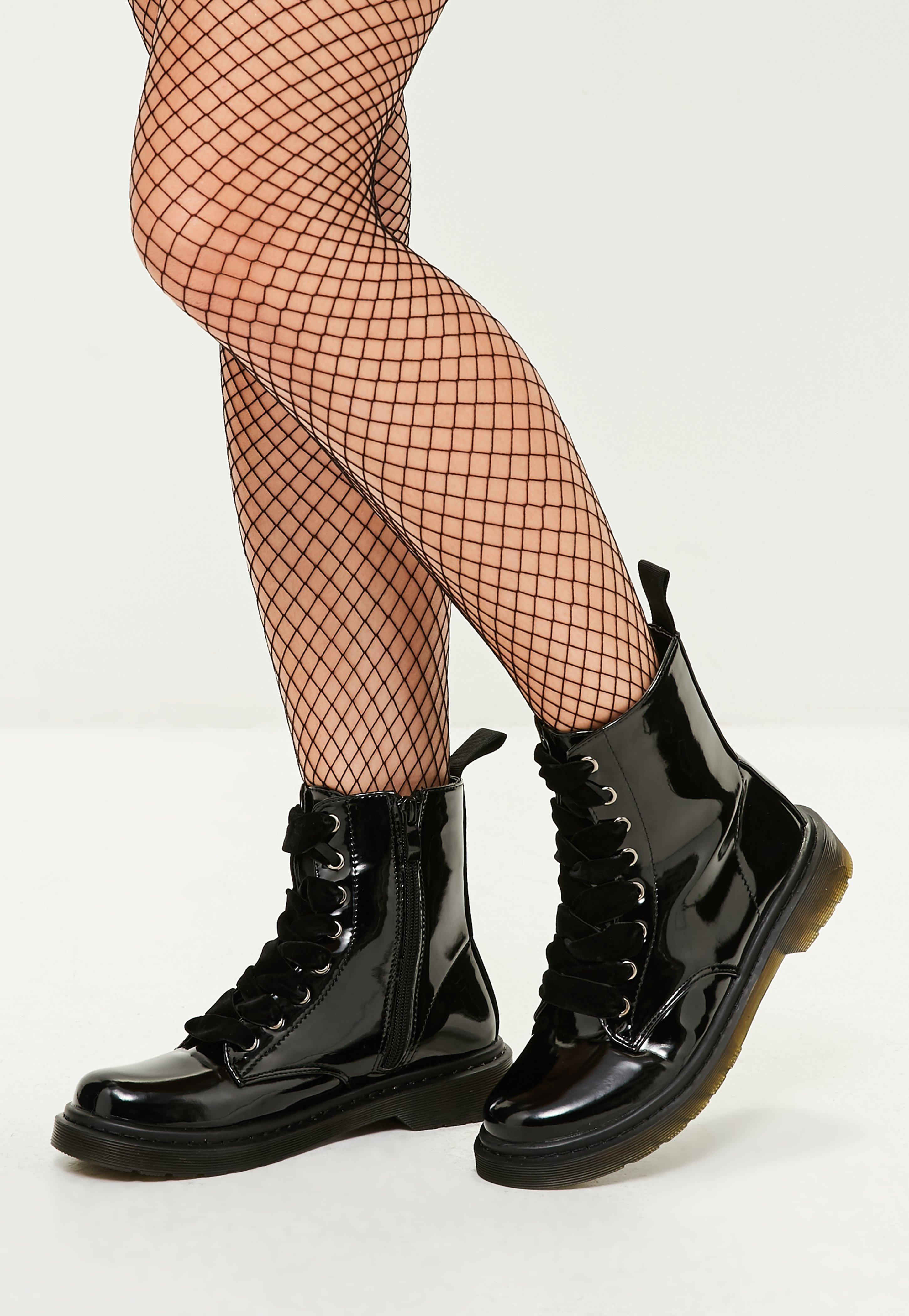 Black High Shine Lace Up Ribbon Ankle Boots