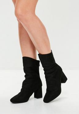 Black Sock Leg Suedette Boots
