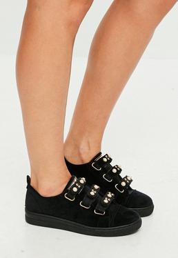 Black Velvet Pearl Strap Sneakers
