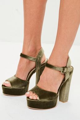 Khaki Velvet Platform Heels