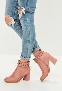 Pink Ruffle Stud Ankle Boots
