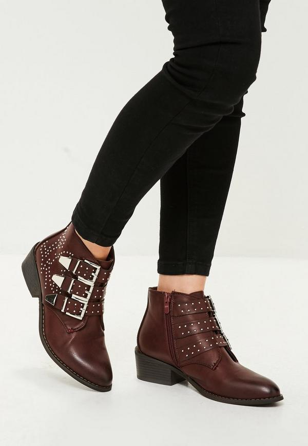 Red Studded Multi Buckle Ankle Boots Missguided
