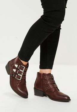 Red Studded Multi Buckle Ankle Boots