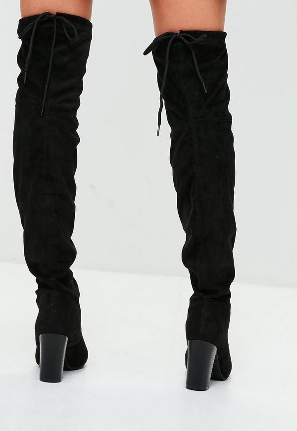 black faux suede the knee boots missguided