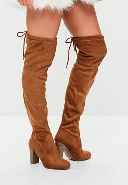 Brown Over The Knee Heeled Boots