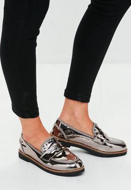 Srebrne metaliczne buty mokasyny