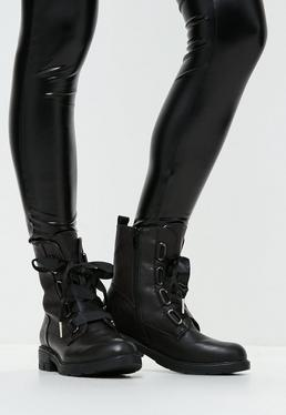 Black Ribbon Lace Up Biker Boots