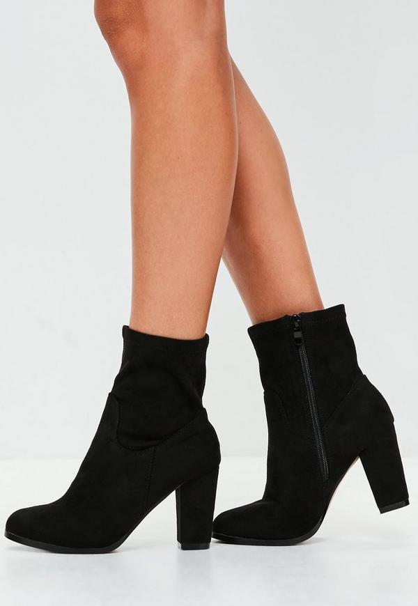 black faux suede heeled ankle boots missguided
