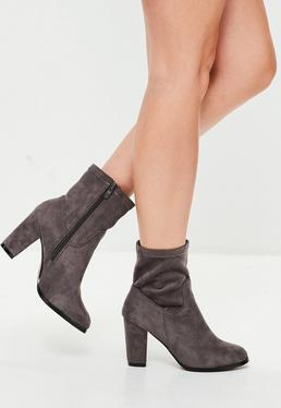 Grey Faux Suede Heeled Ankle Boots